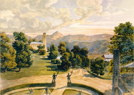 Erdmannsdorf/Mysłakowice: Die weitläufige Aussicht vom Schloss auf die Schneekoppe wurde im Vordergrund durch den Blumengarten ergänzt. Die von Karl Friedrich Schinkel entworfene Dorkirche im Hintergrund fungiert als rahmendes Element für den Bergblick.