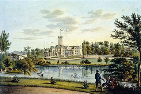 In den Jahren 1841–1844 wurde das Schloss in Erdmannsdorf in neogotischem Stil umgebaut. Von dem neuen Turm aus sowie den angebauten Balkonen, Terrassen und Erkern zeigten sich Ausblicke auf den Park.