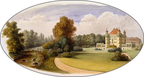 Johann Heinrich Hintze: Ansicht von Schloss Schildau, 1840