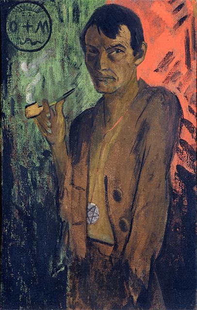 Otto Mueller: <i>Selbstbildnis mit Pentagramm</i>, um 1924. Leimfarbe auf Rupfen, 120 x 75,5 cm