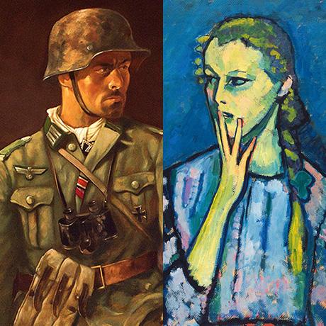 Bildausschnitte. links: Sepp Happ: <i>Über allem aber steht unsere Infanterie</i> (linker Teil eines Triptychons), 1943 Öl auf Leinwand, ca. 200 x 100 cm | rechts: Alexej von Jawlensky: <i>Mädchenbildnis</i>, 1909 Öl auf Leinwand, 92 x 67,2 cm