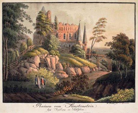 Ruinen von Fürstenstein bey Freyburg in Schlesien, kolorierte Radierung von F. Stadler, Dresden