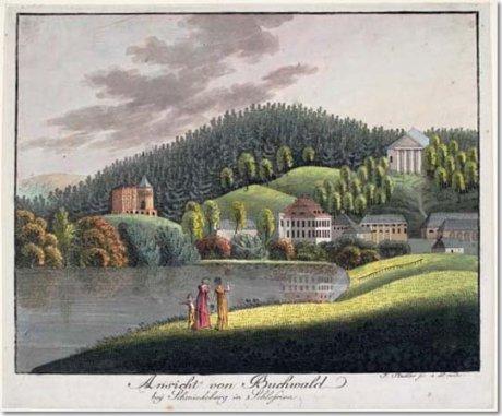 Buchwald, Schloss, Park | Bukowiec, pałac, park Originaltitel: Ansicht von Buchwald bey Schmiedeberg in Schlesien